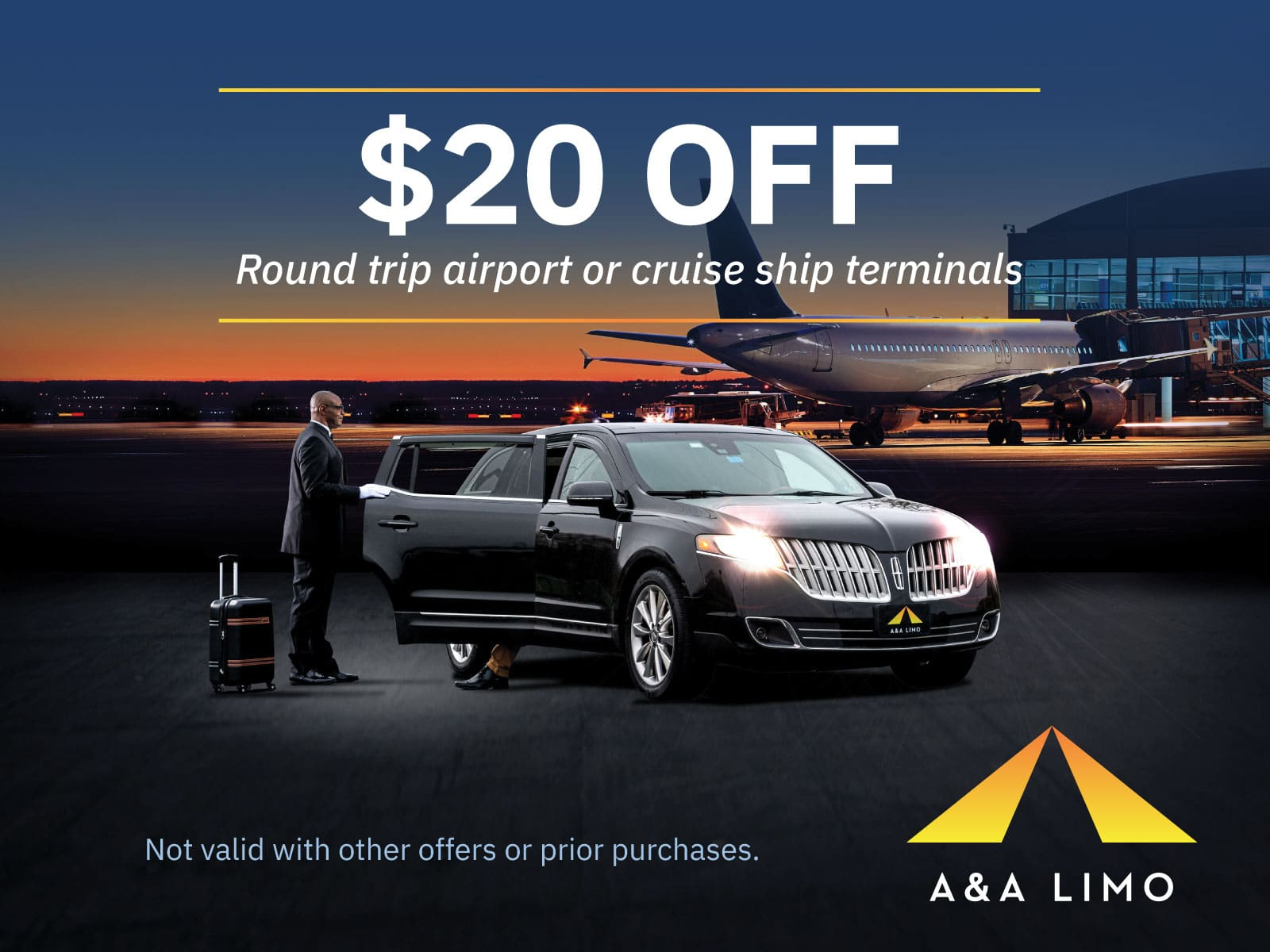 $20 off A&A Airport transportation